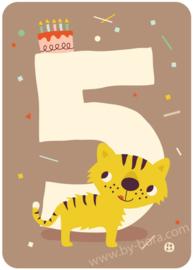 wenskaart vijfde verjaardag - 5 jaar - BORA illustraties