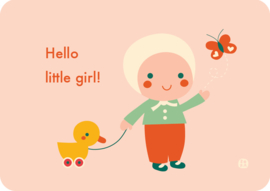 ansichtkaart Hello Little girl - BORA illustraties