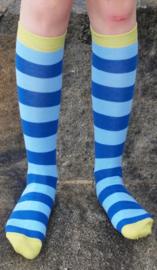 Kniekousen GOTS biokatoen streep donkerblauw - lichtblauw Duns Sweden