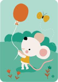 ansichtkaart Muis met ballon - BORA illustraties