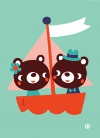 ansichtkaart Bear lovers - BORA illustraties