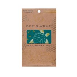 Bee's Wrap bijenwasdoeken  Ocean - 3 stuks, klein, middel en groot