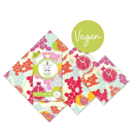 BeeBee & Leaf wasdoeken - Pomegranate set van 3 small medium large - VEGAN