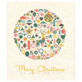 Vaatdoek Merry Christmas - biologisch afbreekbaar