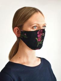Herbruikbaar mondkapje van biokatoen pendarve black