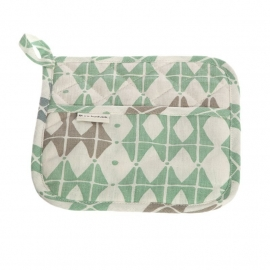 linnen potholder Frosty green
