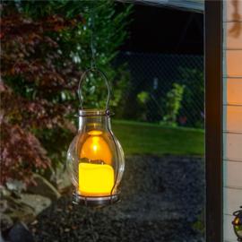 Glazen buitenlamp met zonnepaneel