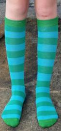 Kniekousen GOTS biokatoen streep groen - turquoise Duns Sweden