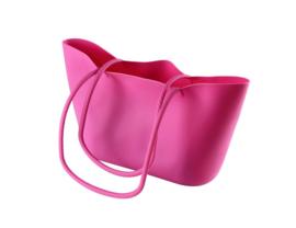 Opvouwbare strandtas van siliconen roze - Scrunch