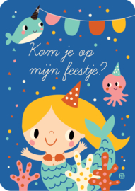 Uitnodiging kinderfeestje - Kom je op mijn feestje zeemeermin - BORA