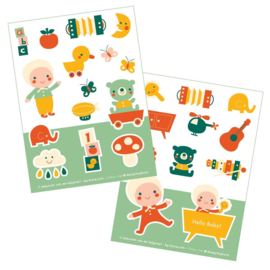 2 stickervellen a6 Hello Baby - Bora illustraties