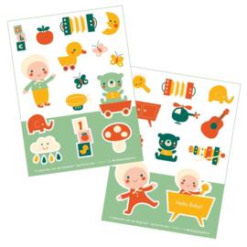 2 stickervellen a6 Hello Baby - Bora illustraties