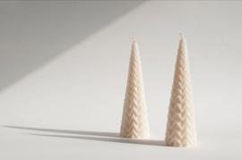 Babongo Kerstboom Zigzag kaars van koolzaadwas - handgemaakt