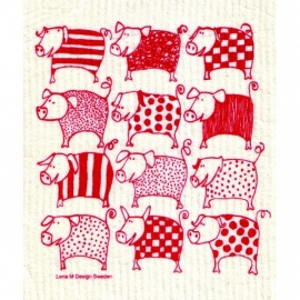 Biodegradable dishcloth Red Pigs