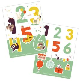 2 stickervellen a6 Cijfers - Bora illustraties