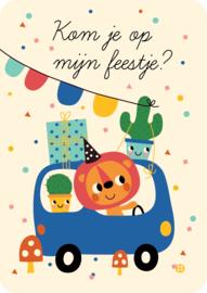 Uitnodiging kinderfeestje - Kom je op mijn feestje leeuw en auto - BORA
