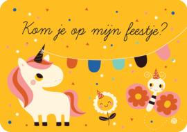 Uitnodiging kinderfeestje - Kom je op mijn feestje eenhoorn - BORA