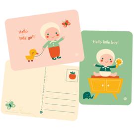 ansichtkaart Hello Little girl - BORA illustraties