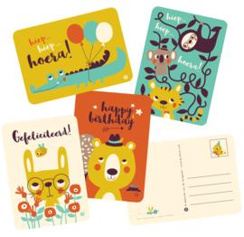 ansichtkaart Hiep hiep hoera kind - tijger en koala - BORA illustraties