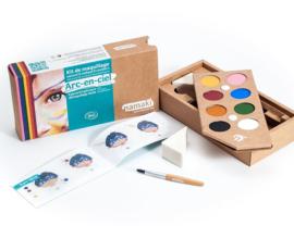 kinderschminkset voor het gezicht - rainbow 8 kleuren