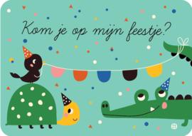 Uitnodiging kinderfeestje - Kom je op mijn feestje Krokodil - BORA