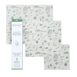 Abeego beeswax foodwraps - 3 flats small, medium, large