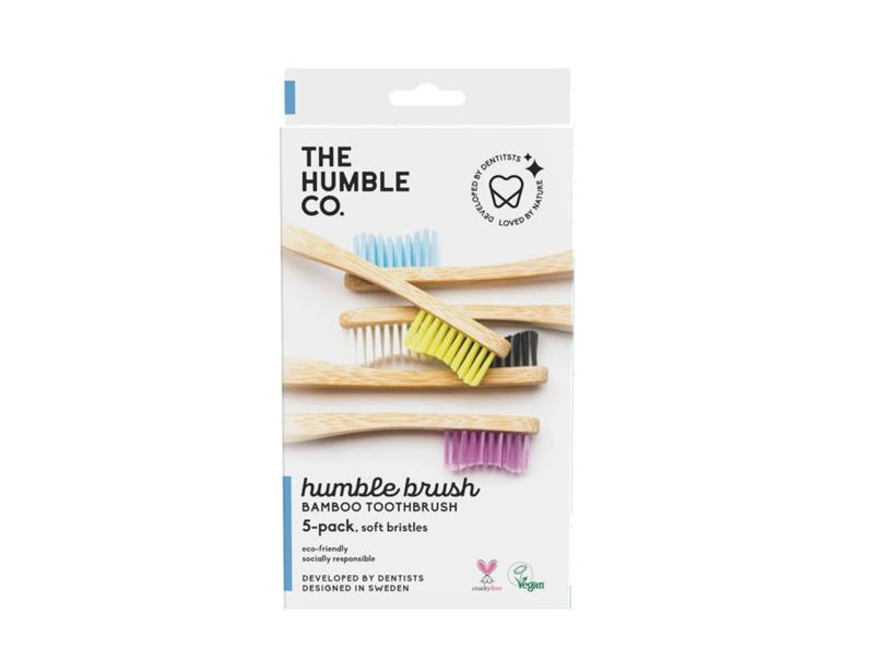 Set van 5 Humblebrush bamboe tandenborstels adult soft