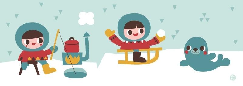 ansichtkaart XL Inuit Snowfun - BORA illustraties