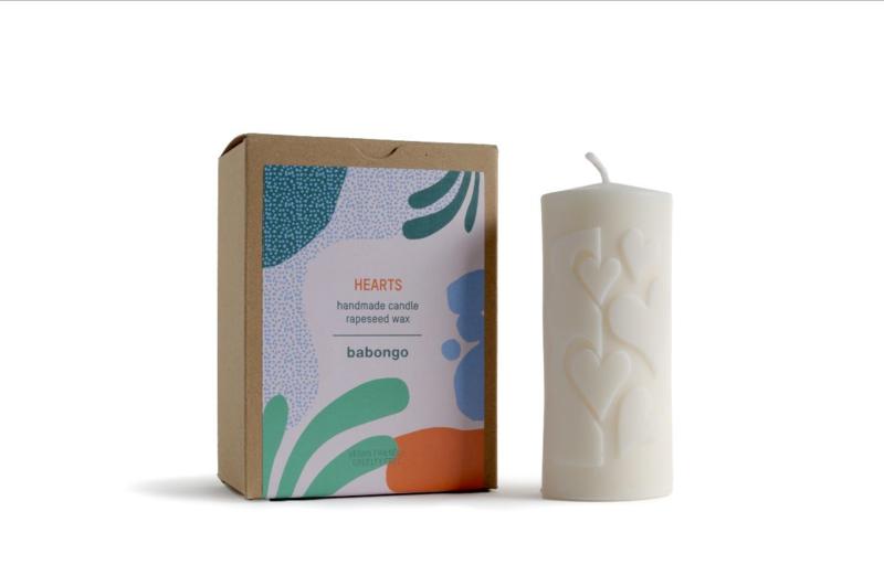Babongo Hearts rapeseed wax candle - handmade
