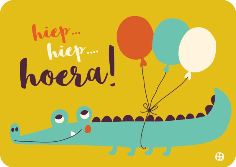 ansichtkaart Hiep hiep hoera kind - Krokodil - BORA illustraties