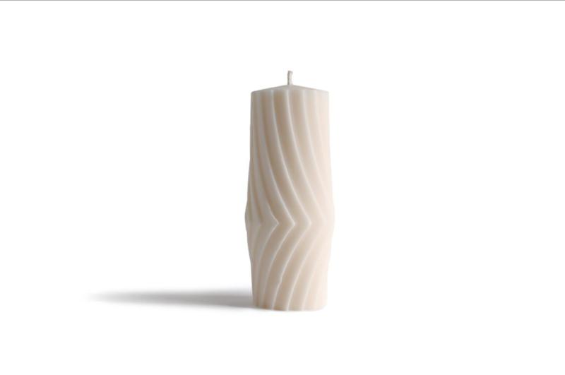 Babongo Diagonal Stripes kaars van koolzaadwas - handgemaakt