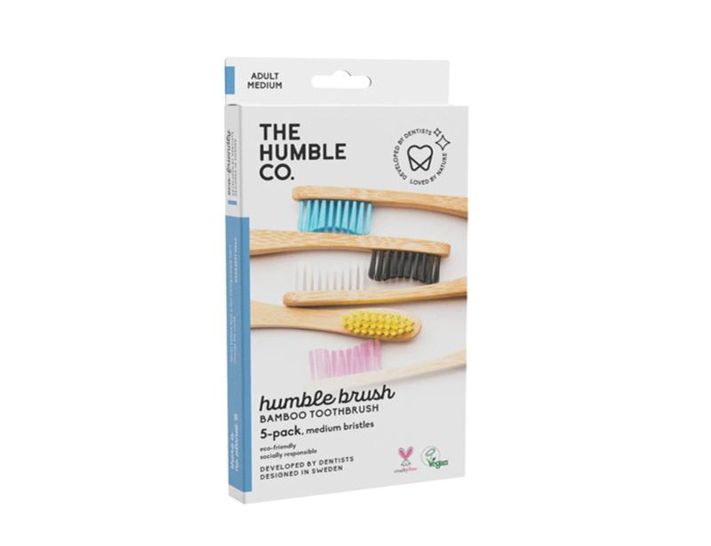 Set van 5 Humblebrush bamboe tandenborstels adult medium