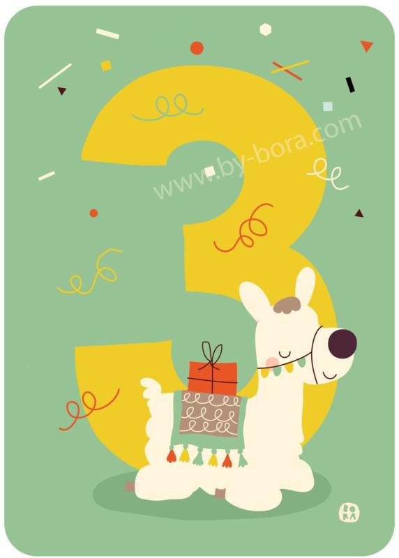 wenskaart derde verjaardag - 3 jaar - BORA illustraties