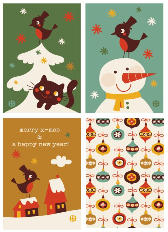 set van 4 vintage christmas kaarten - BORA illustraties