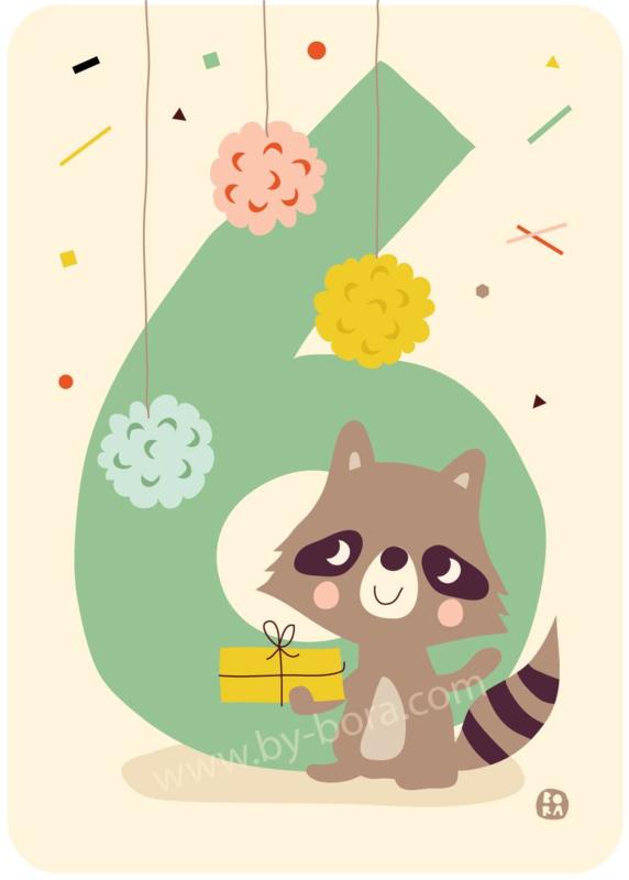 wenskaart zesde verjaardag - 6 jaar - BORA illustraties