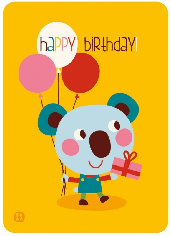 Happy birthday! postcard with envelope Koala - BORA illustrations