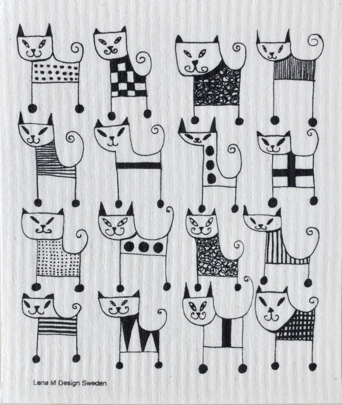 Biodegradable dishcloth Black Cats