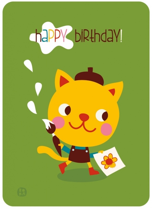 Happy birthday! postcard with envelope Kitten - BORA illustrations