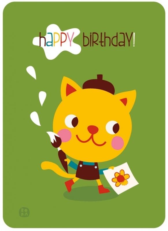 ansichtkaart met envelop Happy birthday! Poes - BORA illustraties