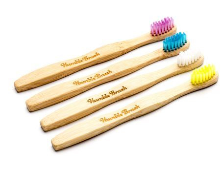 Humblebrush bamboe kindertandenborstel blauw