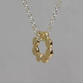 20572 - Collier zilver met Goldfilled bubble bloem