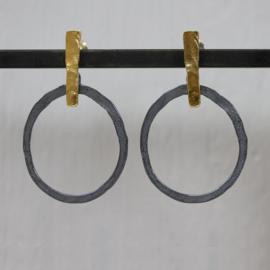 Oorsteker zilver staafje + cirkel