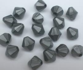 Kralen konisch grijs  8mm aantal 50