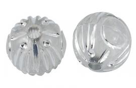 Kralen rond transparant wit 11mm  aantal 20