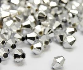 250 Kralen konisch zilverkleur 4mm