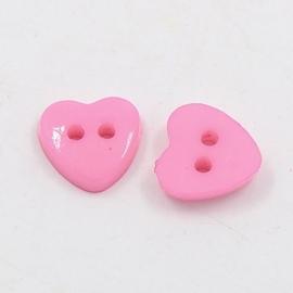 Knoop hart roze12x12mm