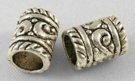 tibetaans zilveren tussenkralen 7x9mm   aantal 6