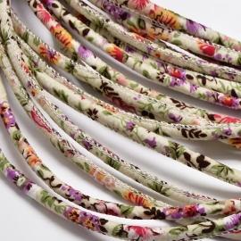 Trendy koord 20cm beige met bloemetjes