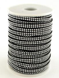 zwart veter met studs  5x2mm