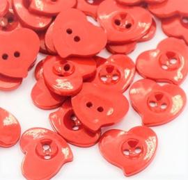 Knnop hart rood 15x14mm
